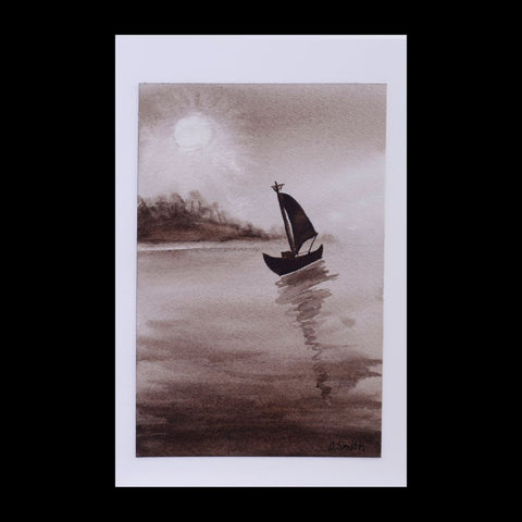 Sail Away Original Watercolor Greeting Card Moonlight