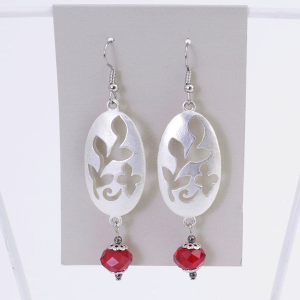 Silver and Red Leaf Earrings