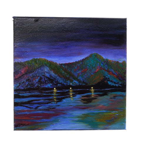 Night Camp Lake Roosevelt Oil Painting by Pat McLaughlin