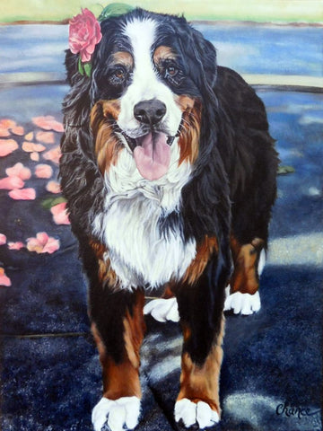 Portrait of Jersey - Dog Mounted on Canvas