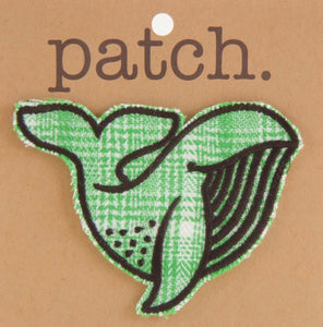 Green Plaid Whale Fabric Patch