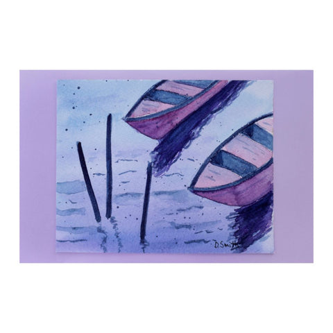 Row Boats Wait Original Watercolor Greeting Card