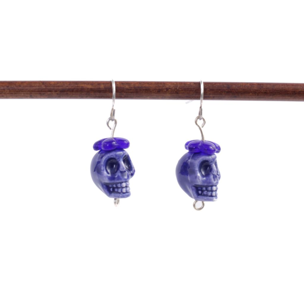 Blue Ceramic Skull Earrings