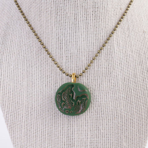 Polymer Clay Green Leaf Pendant Necklace