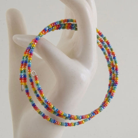 Small Rainbow Memory wire bracelet