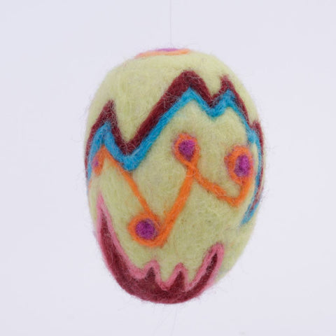 Yellow Needle Felted Wool Egg