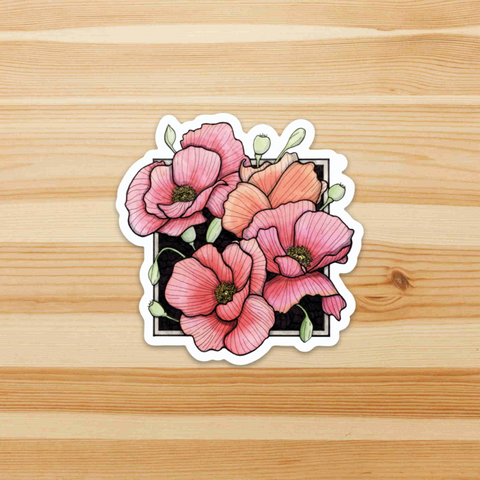 "Poppies, 3"" Sticker"