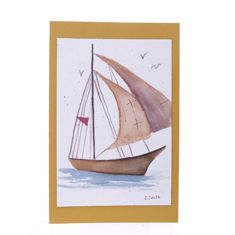 Double Sail Boat Original Watercolor Greeting Card