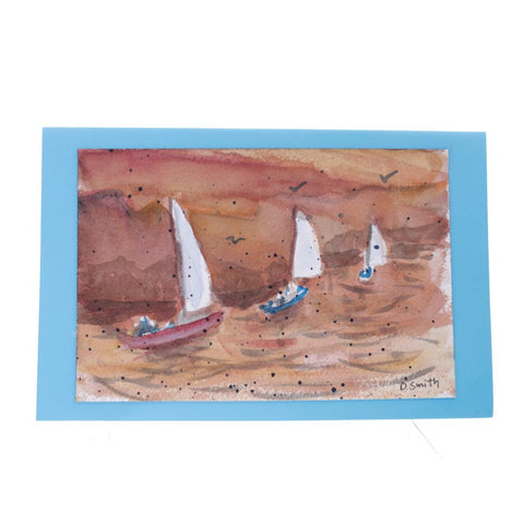 Sail at Dusk Original Watercolor Greeting Card