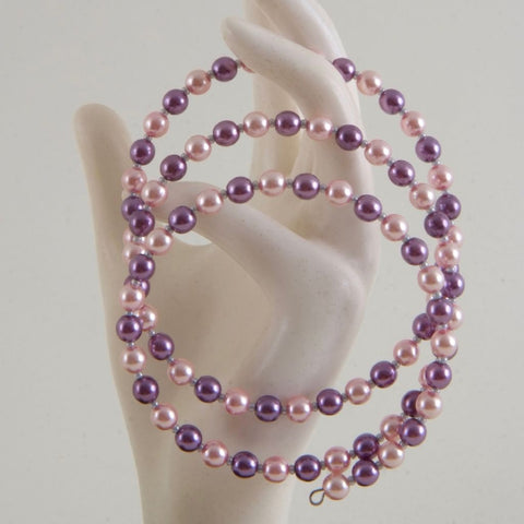 Pink, purple Memory Wire Bracelet