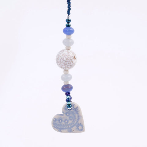 Blue Heart Porcelain Goddess Bauble Hanging