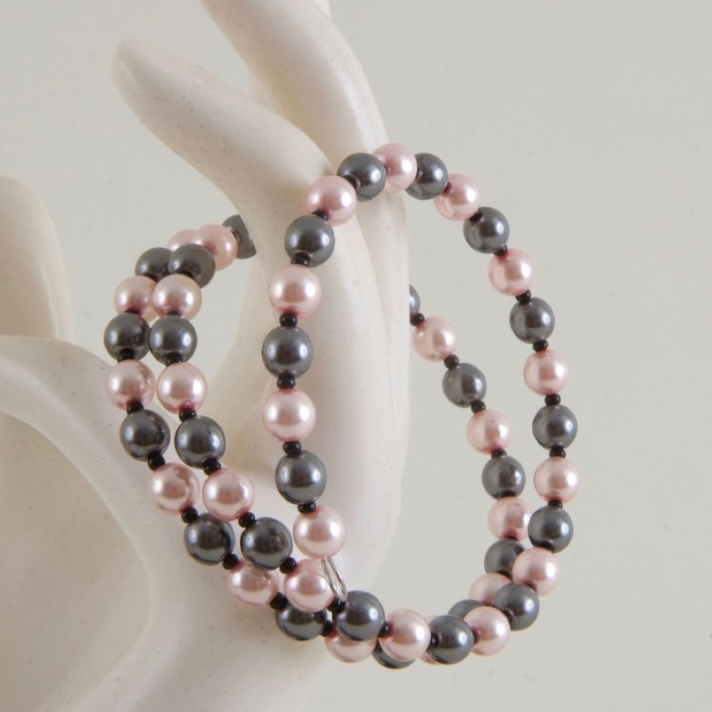 Pink and grey Memory wire bracelet, small