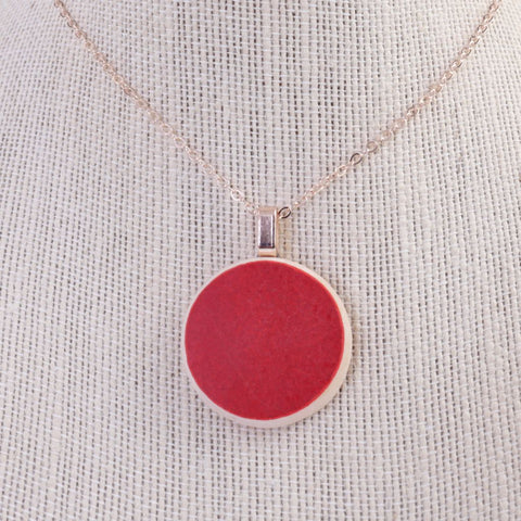 Upcycled Red Ceramic Pendant Necklace