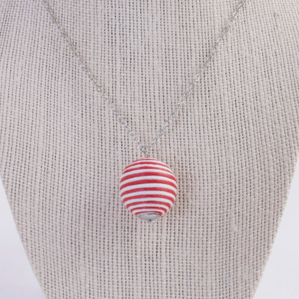 Upcycled Red & White Fabric Bead Necklace