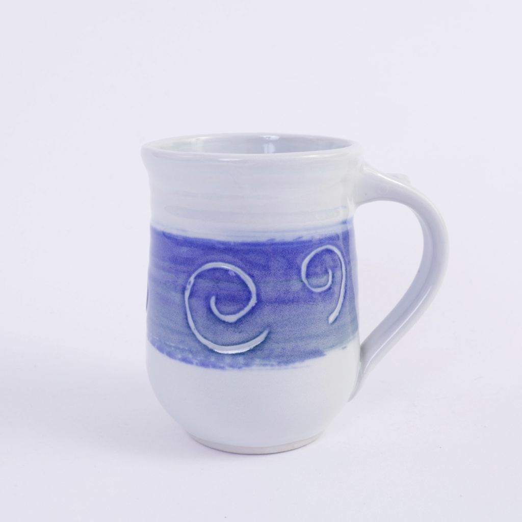 White & Blue Swirls Pottery Mug