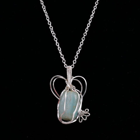 Wire Wrapped Agate Pendant w Silver Necklace