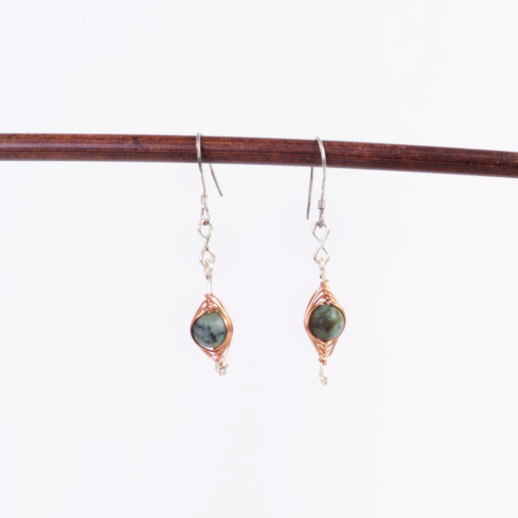 Turquoise Silver & Copper Earrings