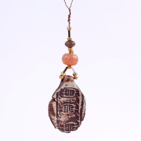 Beaded Brown Porcelain Charm Goddess Bauble Hanging