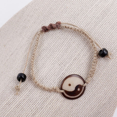 Yin Yang Hemp Bracelet Adjustable
