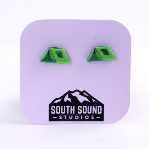 Green Tent Camping Stud Earrings