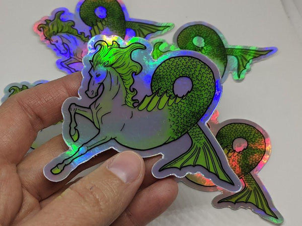 Halographic Hippocamp Water Horse Sticker by TursiArt