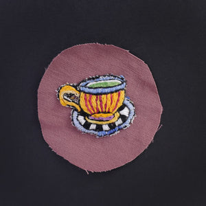 Psychedelic Teacup Hand Stitched Patch