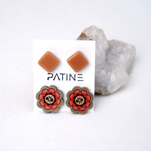 Orange & Flowers Upcycled Earrings