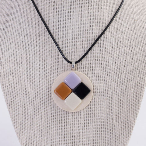 Upcycled Wood & Tile Pendant Necklace