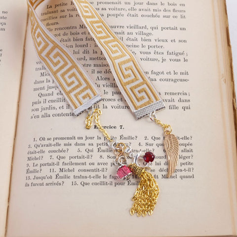Gold & Pink Beaded Bookmark