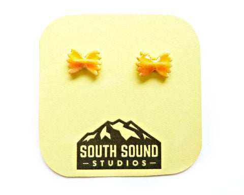 Bowtie Pasta Noodle Stud Earrings