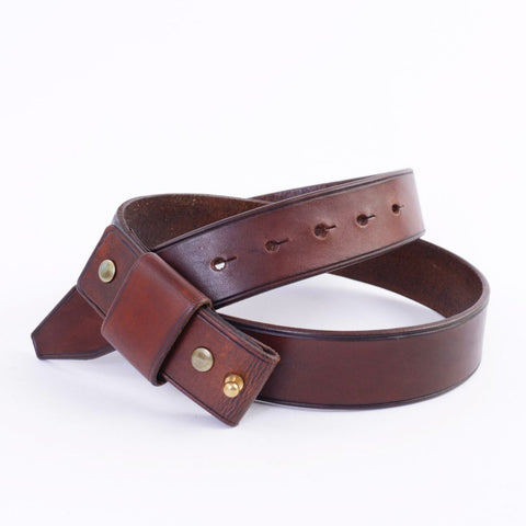 Brown Stud Button Leather Belt