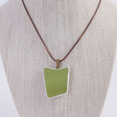 Green Upcycled Ceramic Pendant Necklace