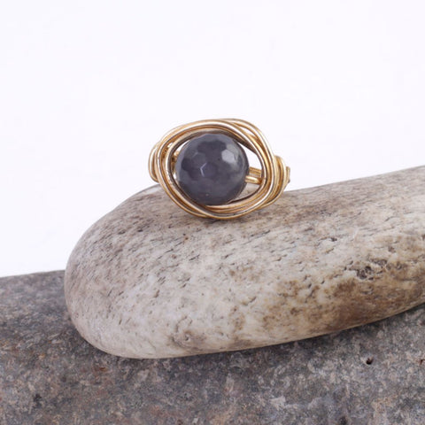 Wire Wrapped Faceted Bead Ring