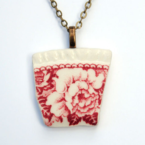 Red Floral Upcycled Ceramic Necklace
