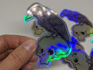 Holographic Raven & Skull Sticker