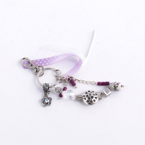Purple & Silver Keychain with Charms