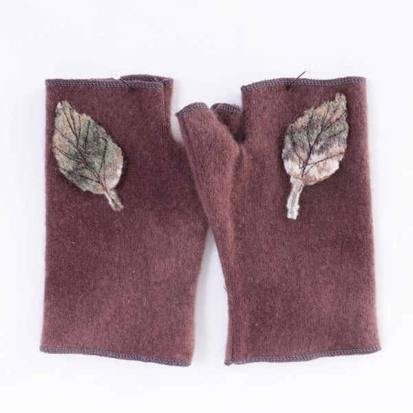 Brown & Leaves Cashmere Armwarmers