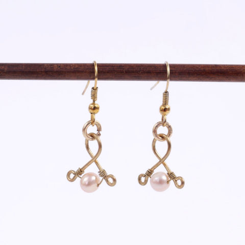 Pink Pearl and Gold Wire Earrings