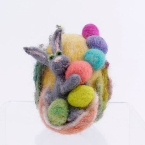 Bunny of Many Eggs Needle Felted Wool Woolly One