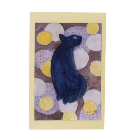 Cat on Circles Original Watercolor Greeting Card