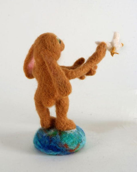 Needle Felted Wool Peace Bunny