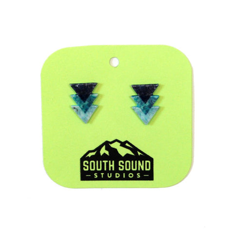 Blue Triangle Stud Earrings