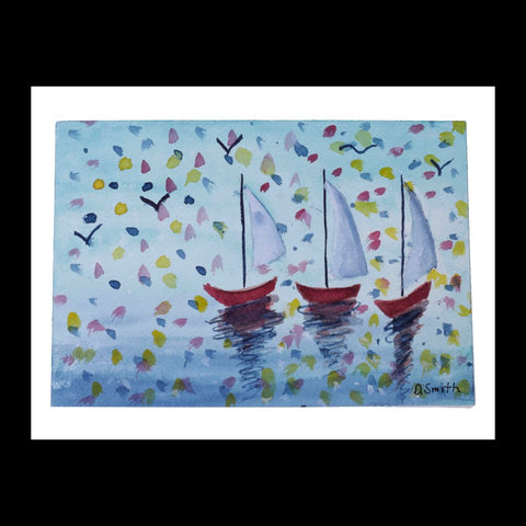 Three Red Boats Original Watercolor Greeting Card