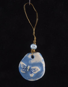 Blue Butterfly Porcelain Charm