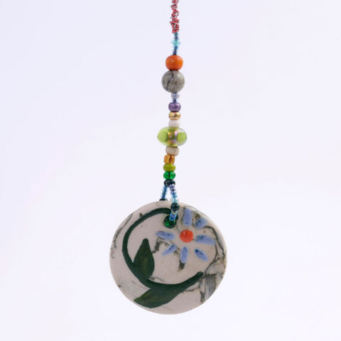 Beaded Floral Porcelain Goddess Bauble Hanging
