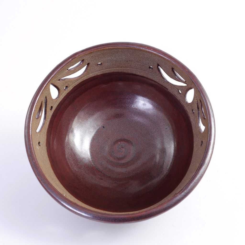 Brown Cutwork Pottery Bowl