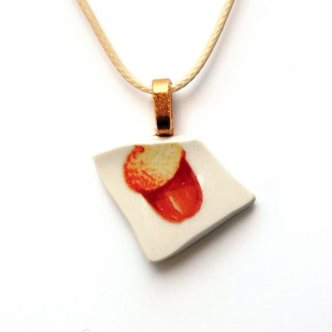 Acorn Upcycled Ceramic Necklace