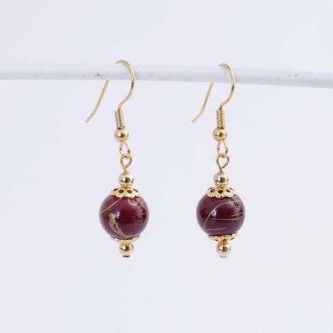 Wine & Gold Earrings