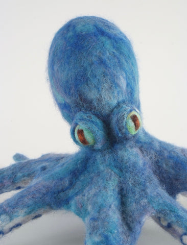 Needle Felted Blue Octopus