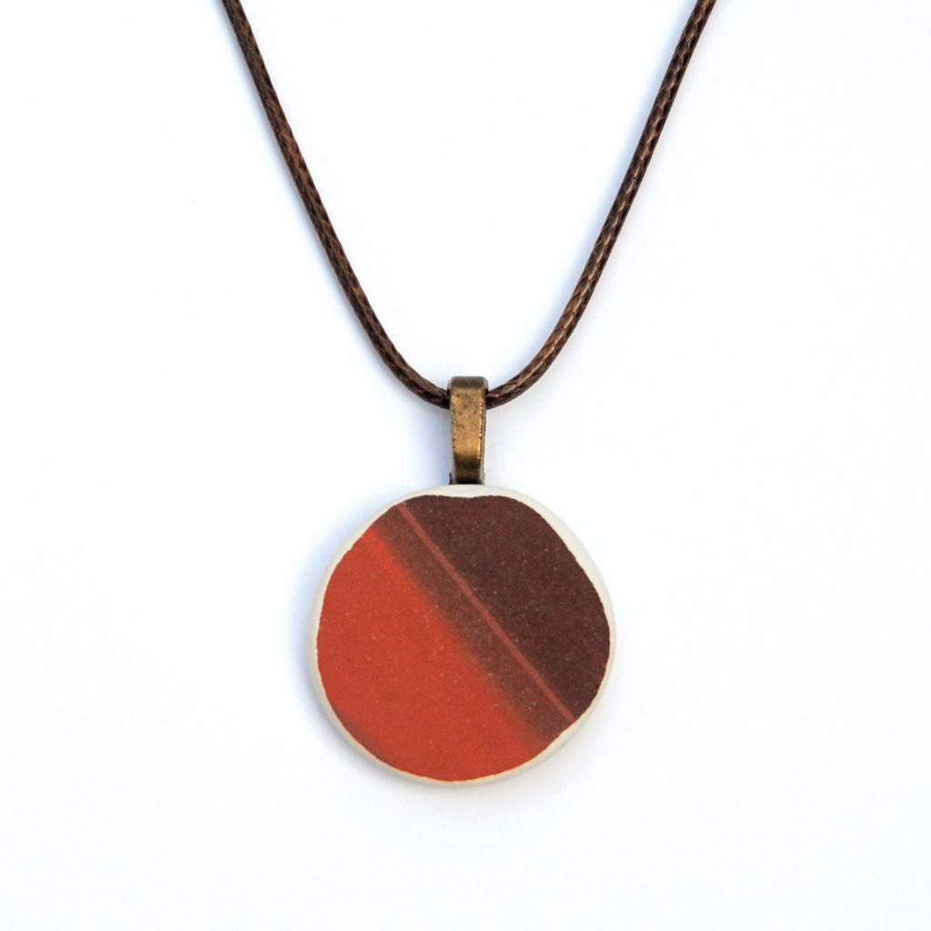 Red & Brown Upcycled Ceramic Necklace